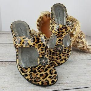 MARC FISHER • Cheetah print wedge thong sandals